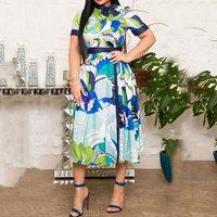 Vintage Elegant Plus Size Party Blue Summer Women Midi Dresses High Waist Print Bowknot Retro Chic Female Fashion African Dress