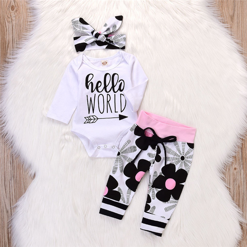 Baby Clothes Toddler Infant Baby Girls Letter Floral Print   Romper   Jumpsuit Pants Outfits Set   romper   do beb menina #15O18 #F