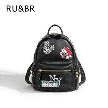 RU и br заклепки известный рюкзаки Письмо Граффити женщин рюкзак Mochila Escolar Корейский кожа Школьные ранцы для подростка Harajuku сумка