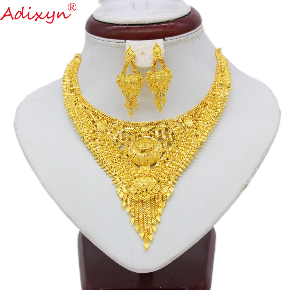 Adixyn Fashion African Dubai Necklace Earrings Jewelry Set For Women Gold Color Arab Wedding Party Birthday