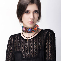 New Trendy Retro Bohemian Multicolor Handmade Statement Choker Leaves Necklace For Women Jewelry Collar Gift