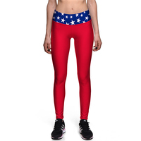 Red Fitness Trousers Ladies Stars Design Waist Tight Yoga Pants Women Running Sports Leggings Plus Size