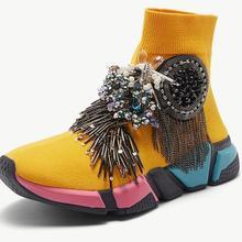 Прозрачные носки, кроссовки, желтые женские Стразы, повседневная обувь, кроссовки с кристаллами, женские вязаные носки с кисточками, модные кроссовки WK97