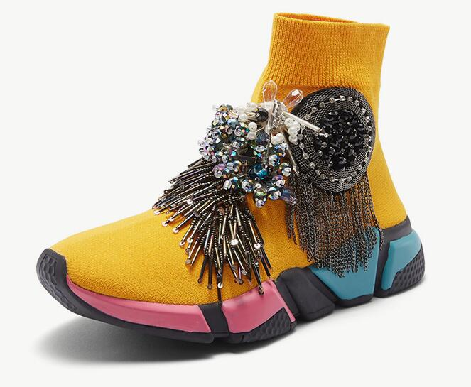 Crystal Socks Sneaker Yellow Women Rhinestone Casual Shoes Crystal Sneaker  Lady Tassels Knitted Socks Sneaker Fashion WK97-in Walking Shoes from  Sports ... b0c4ded99b7a