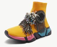 Crystal Socks Sneaker Yellow Women Rhinestone Casual Shoes Lady Tassels Knitted Fashion WK97