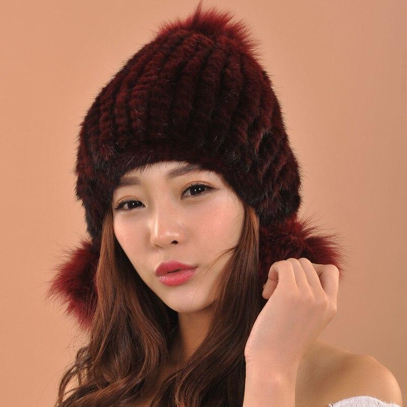 Hot Selling New Women Winter Mink Fur Hat Real Mink Fur Beanies Fashion Headwear With Fox Fur Ball skullies beanies