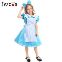 JYZCOS Alice in Wonderland Maid Costume Halloween Cosplay Costume for Girls Children Carnival Lolita Costume Suit женское платье lolita dresses maid cosplay costume
