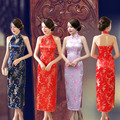 Sexy New Lady Evening Party Dress Brand Chinese Vintage Backless Long Cheongsam Qipao Button Costume S M L XL XXL XXXL 011502