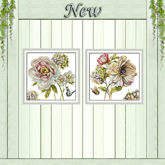 Hydrangeas flower rose decor painting counted print on canvas DMC 11CT 14CT chinese Cross Stitch kits embroidery needlework Sets