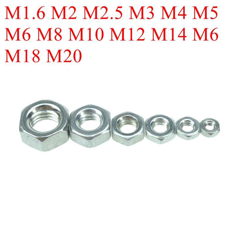 Stainless Steel 304 Metric Thread DIN934 M1.6 M2 M2.5 M3 M4 M5 M6 M8 M10 M12 M14 M16 M18 M20 Hex Nuts