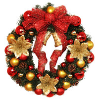 Europe Style 40cm Christmas Large Wreath Decoration Door Wall Ornament Garland Decoration Red Bowknot Bells Xmas