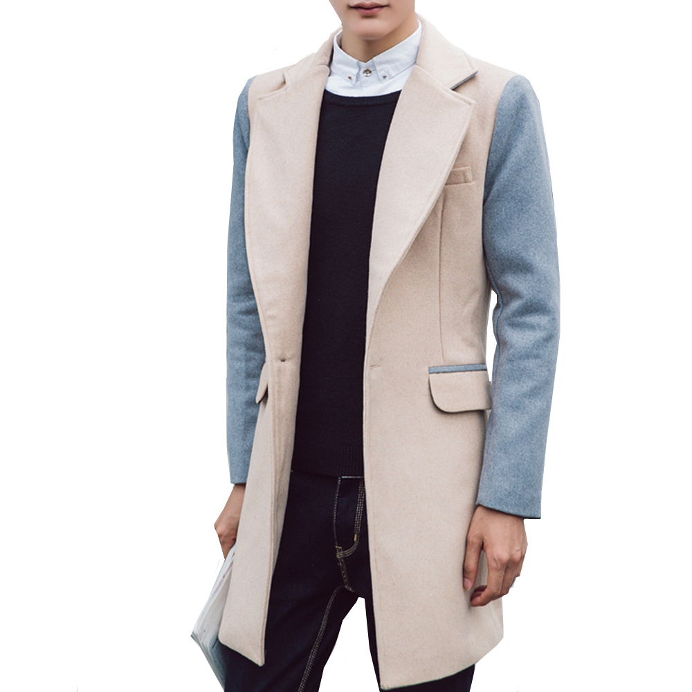 2018 Autumn and Winter Wool Coat Business Long Woolen Coats Men's Stitching Casual Wool Blends Casual Male Overcoat Jacket