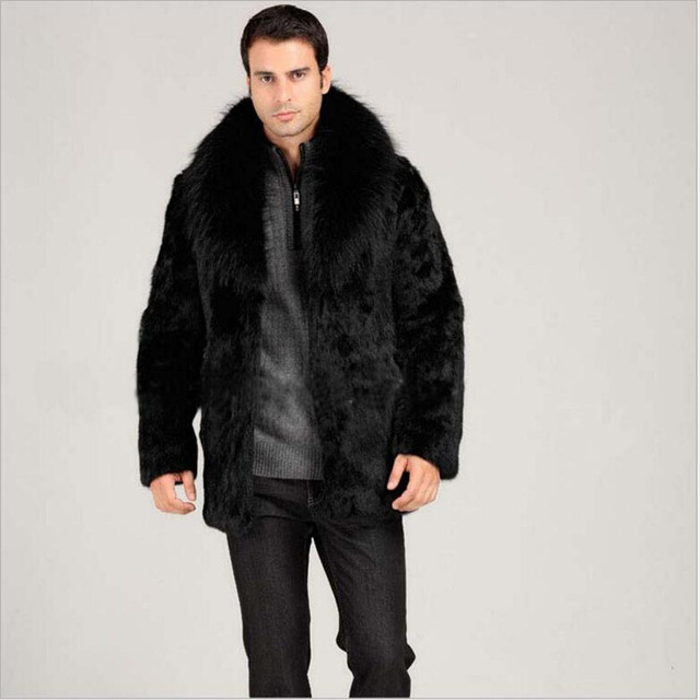 Medium Long Black Men Faux Fur coat Warm Winter coat New Cool High ...