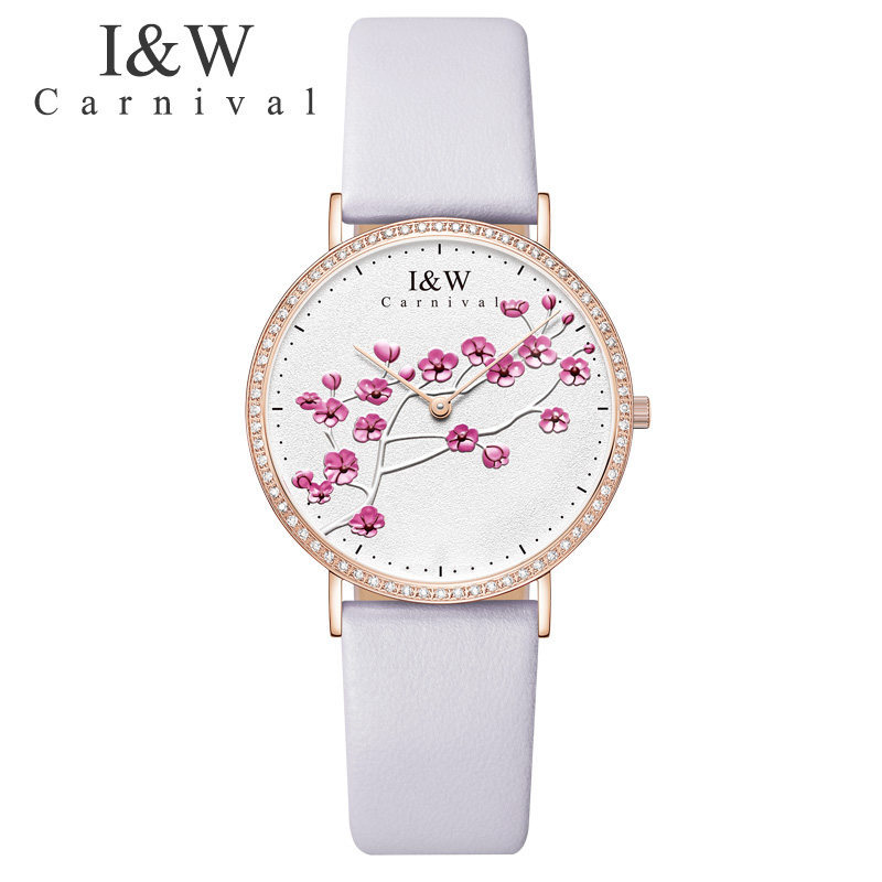 Швейцарский импортный КВАРЦ ДВИЖЕНИЕ женские часы карнавал люксовый бренд часы для женщин сапфир из натуральной кожи reloj hombre C3002 5