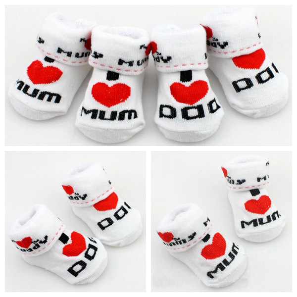 MOONBIFFY Baby Socks Rubber Slip-resistant Floor Socks Love Dad Love Mum Cartoon Kids Socks For Girls Boys