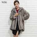 Fur Coat Mink With Fur Hood Noble Women Cloth Popular Irregular Swallowtail With Button Full Sleeve Party Formal Occasion 8002