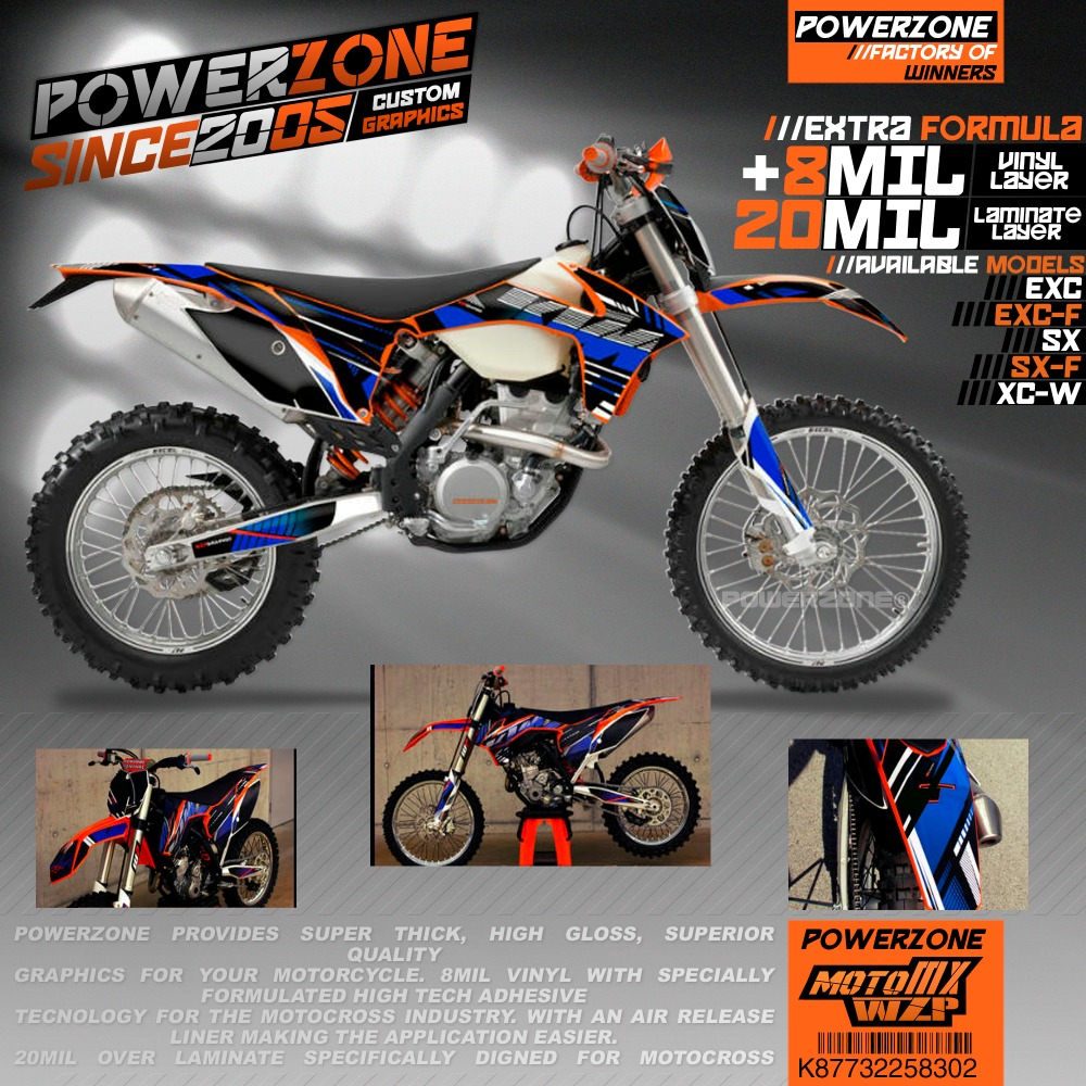 PowerZone настроить команды графика фоны наклейки на заказ CSL Стиль комплект для KTM SX SXF EXC Sixdays K87732258302