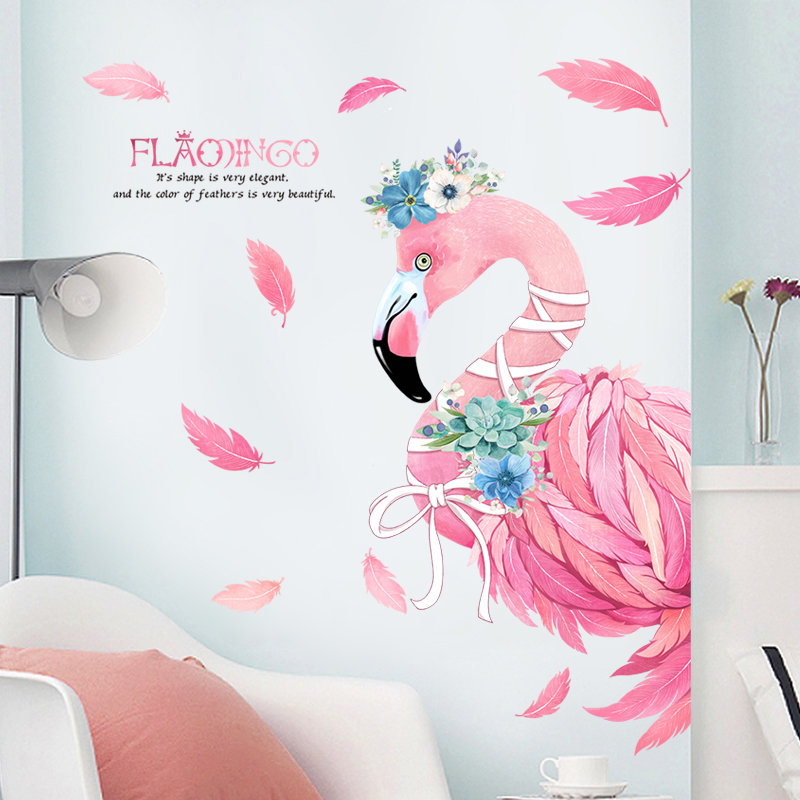 US $13.85 7% OFF|Pink Romantic Flamingo Decorative Wall Stickers Home Decor  Living Room DIY PVC Animal Modern Wall Decals Bedroom Art Poster-in Wall ...
