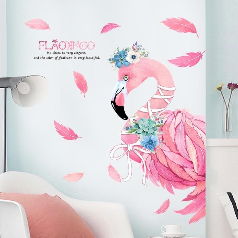 Romantisch Rosa Flamingo Dekorativen Wandaufkleber Steuern Dekor Wohnzimmer  DIY PVC Tier Moderne Wandtattoos Schlafzimmer Kunst Poster