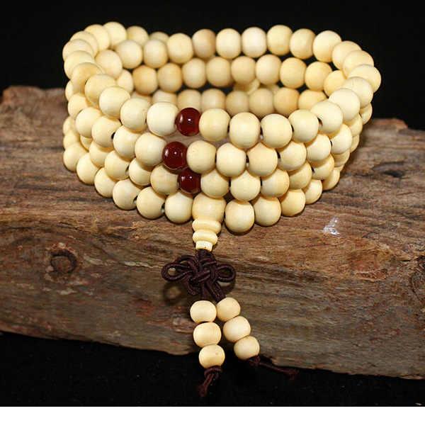 108 cuentas 8mm Natural sándalo budista Buda madera oración cuentas Nudo negro ébano Unisex hombres pulseras y brazaletes para las mujeres