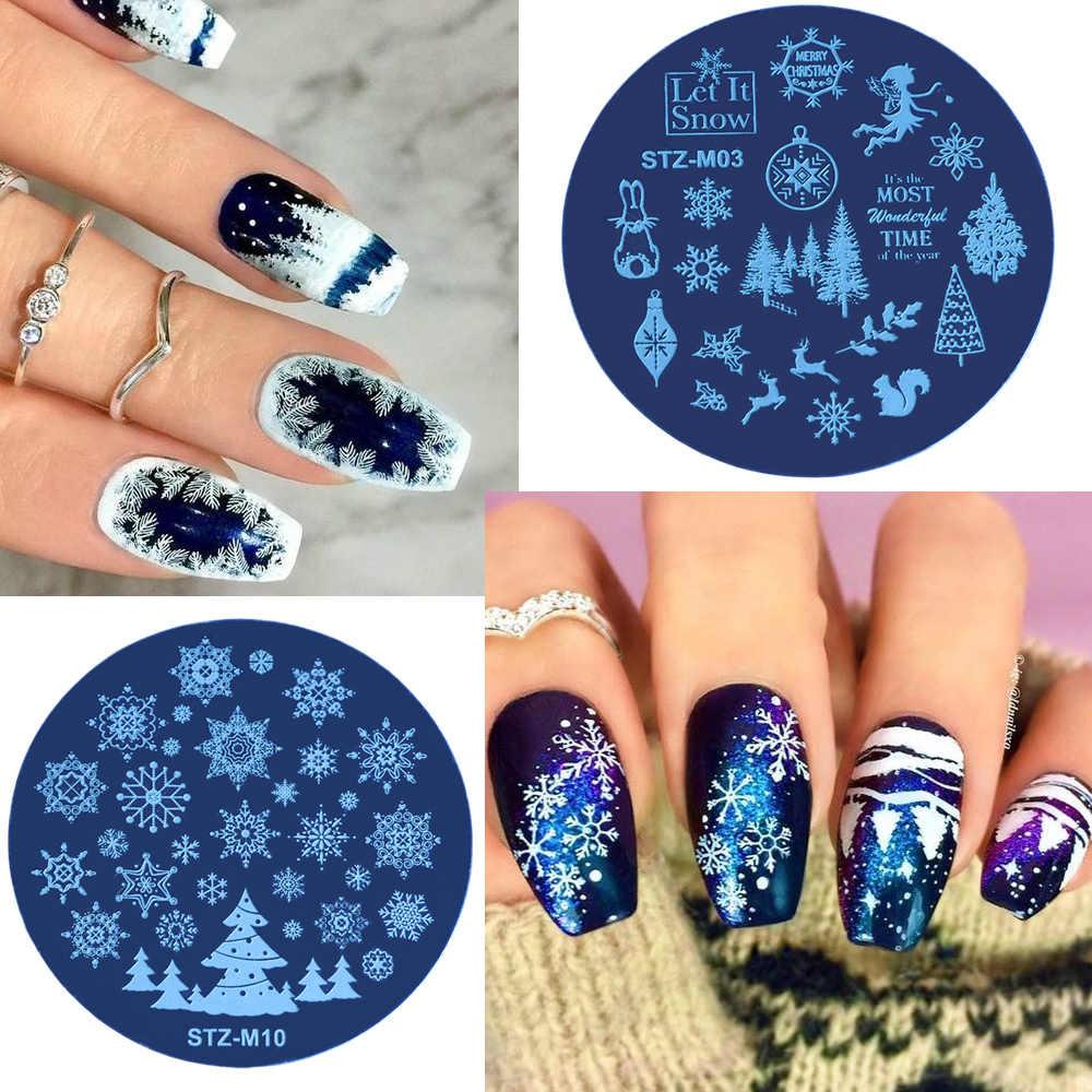 1 piezas Plantilla de estampado de uñas de Navidad con flor de nieve redonda Plantilla de impresora de manicura DIY para Plantilla de imagen de Arte de uñas nuevo herramienta