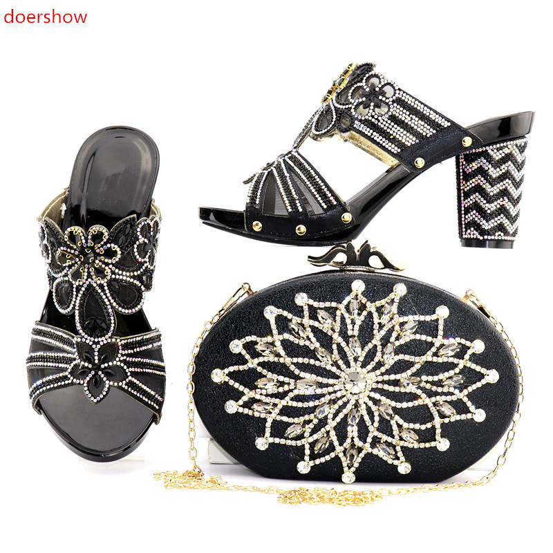 doershow beautiful African Shoes and Bag Set Italian Shoes with Matching Bags High Quality Women Shoe and Bag To Match SNJ1-5 red african wedding shoe and bag sets women shoe and bag to match for parties elegant italian women shoe and bag set