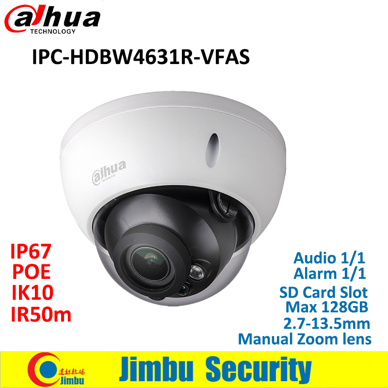 Dahua IP Camera POE 6MP IPC-HDBW4631R-VFAS 2.7-13.5mm H.265 Manual zoom lens IR50m IK10 CCTV camera with SD card slot Max128GB dahua ip camera 6mp poe ipc hdbw4631r s support sd slot ir30m ik10 ip67 cctv camera english firmware
