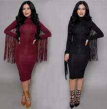 2018 Spring long sleeve women's dresses sexy party club tassel pencil bandage dress red for women suede clothing vestidos