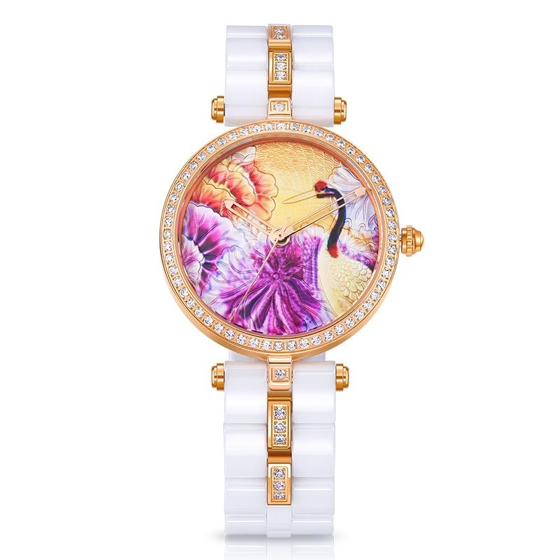 TIME100 Unika keramiska kvinnors armbandsur tredimensionella kranmönster Quartz Klockor Keramiska Rem Ladies Watch Klocka