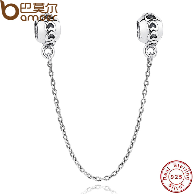 BAMOER 925 Sterling Silver Love Connection Safety Chain Charm Fit Bracelet Heart