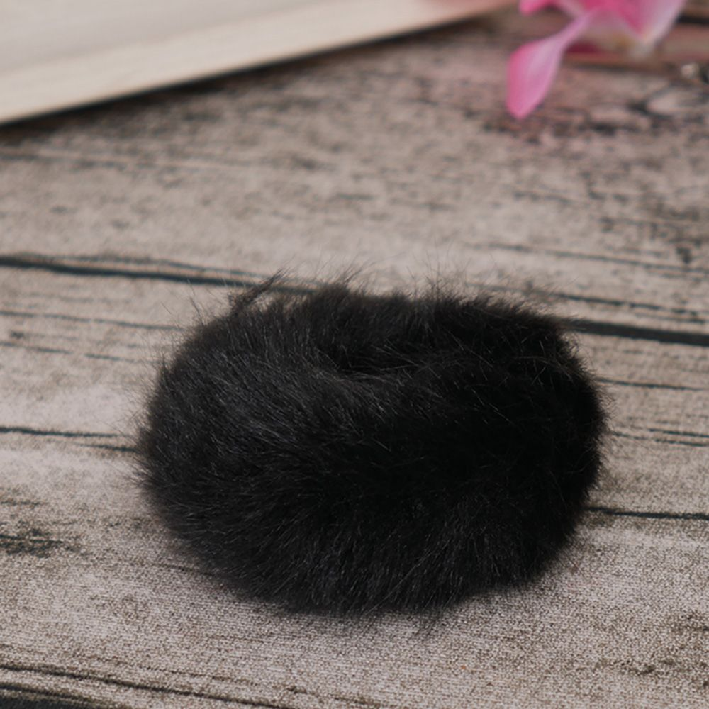 Милые трендовые теплые мягкие женские эластичные ленты из искусственного кроличьего меха для волос, аксессуары для волос для девочек, резинка для волос, головные уборы - Цвет: black