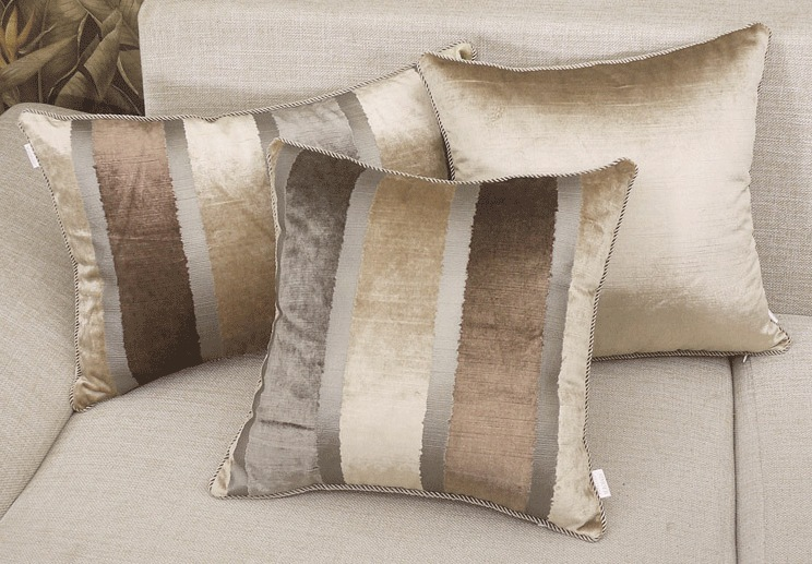 Dark Golden Strip Cushion Cover European Luxury Sofa