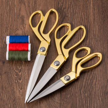Vintage Modern High Quility Stainless Steel Sewing Scissors For Fabric Clothes Tailor Scissors Golden Sharp Blade Accessory prajna golden tailor scissors stainless steel professional cutter leather fabric sewing shears sharp blade vintage scissors