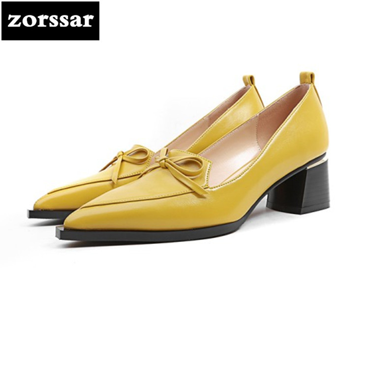 {Zorssar} 2018 New Autumn Fashion Solid Genuine Leather Shallow Fashion Women Pumps thick heel Pointed Toe High Heels shoes zorssar 2018 new fashion crystal genuine leather thick heel womens shoes heels square toe high heels pumps ladies dress shoes
