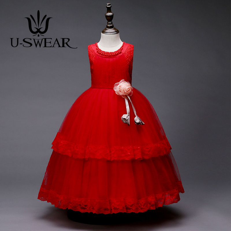 U-SWEAR 2019 New Arrival   Flower     Girl     Dresses   For Weddings   Flower   Appliqued Pearls Beaded Kid Lace   Dress   Vestidos