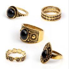 5 Pcs/ Set Classic Black Crystal Round Water Drop Clouds Geometrical Irregular Ring Set Lady Charm Costume Jewelry Accessories
