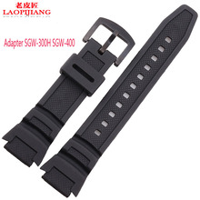Laopijiang 25X18mm noir montre bracelet bande adaptateur SGW-400 SGW-300H mâle bracelet en silicone