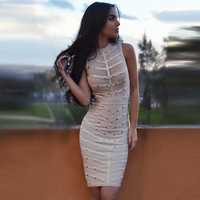 HIGH QUALITY New Fashion 2016 Designer Dress Women S Sleeveless Sexy Perspective Beading Sheath Bodycon Bandage