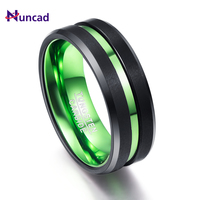 New Arrival Green Red Inner Ring Scrub Groove Men Rings 100 Tungsten Carbide Couple Anillos Para