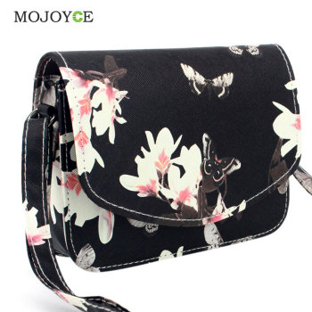 Fashion Floral Print Women Bag PU Leather Handbag Crossbody Bags for Women Messenger Bags Sling Shoulder