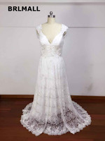 2018 Cut out Wedding Dresses Custom Made Lace Bow A Lin Cheap PLus Size V Neck New Arrival Backless Bridal Gowns