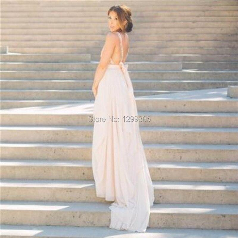2016 Sexy V Neck Ivory White Blush Pink Wedding Dresses Spaghetti Strap Beach Wedding Dress Robe