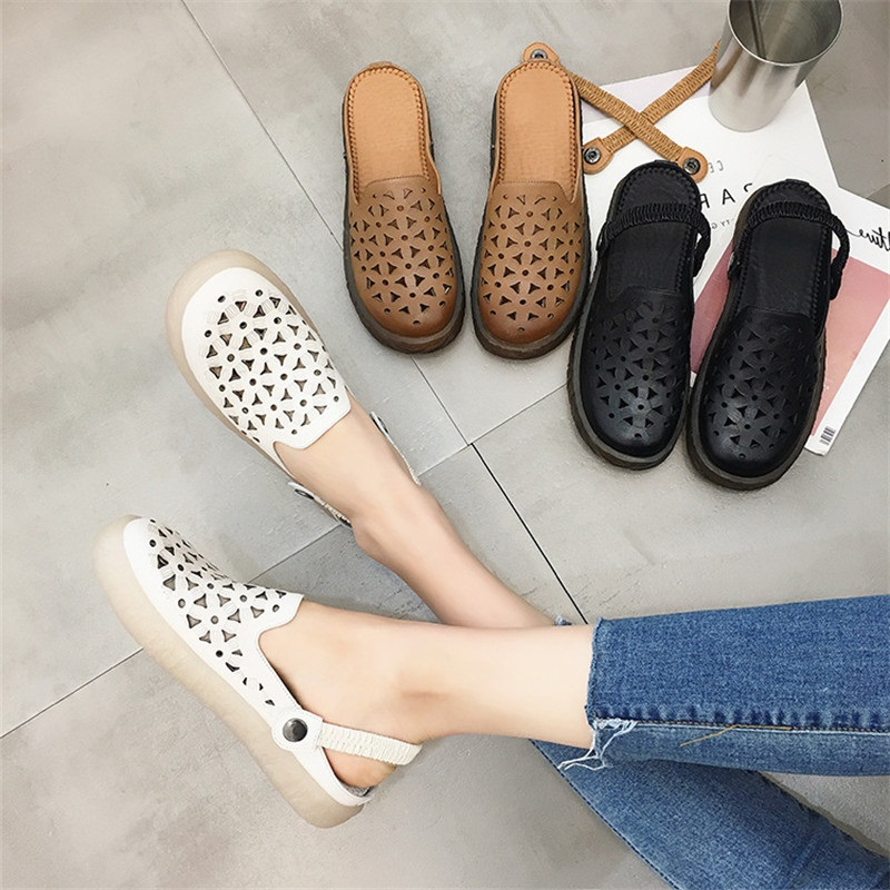 DRFARGO Shoes Women Summer Flat Sandal Breathable Mesh Shoes Genuine Leather Black Shoe Cutout Handmake Soft  Slip on Shoes 8718 free shipping candy color women garden shoes breathable women beach shoes hsa21