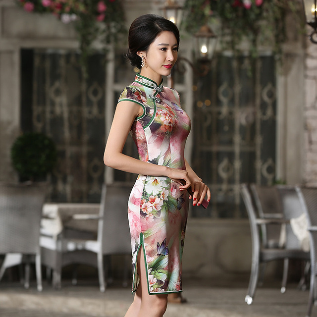 Shanghai Story Chinese Style Women Vintage 100% Silk Qipao Dress Short Sleeve Mini Cheongsam Dress Chinese Traditional Dresses