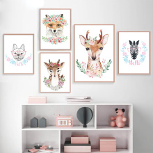 Nordic Giraffe Elephant Panda Tiger Lion Deer Bear Posters And Prints Wall Art Canvas Painting Pictures For Kids Room Decor