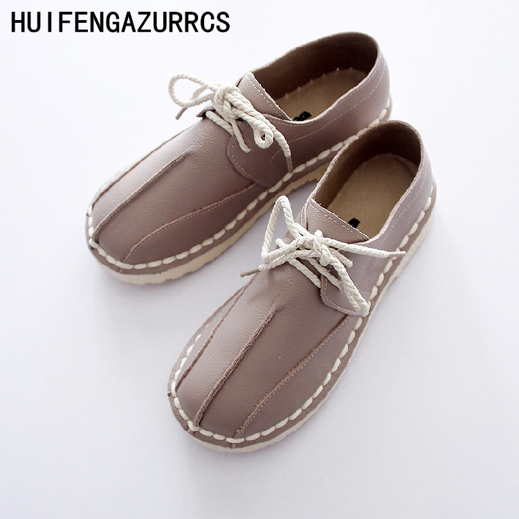 HUIFENGAZURRCS-Spring new flat bottomed leather shoes pure handmade shoes art handmade leather Japanese minimalist shoes huifengazurrcs new pure handmade casual