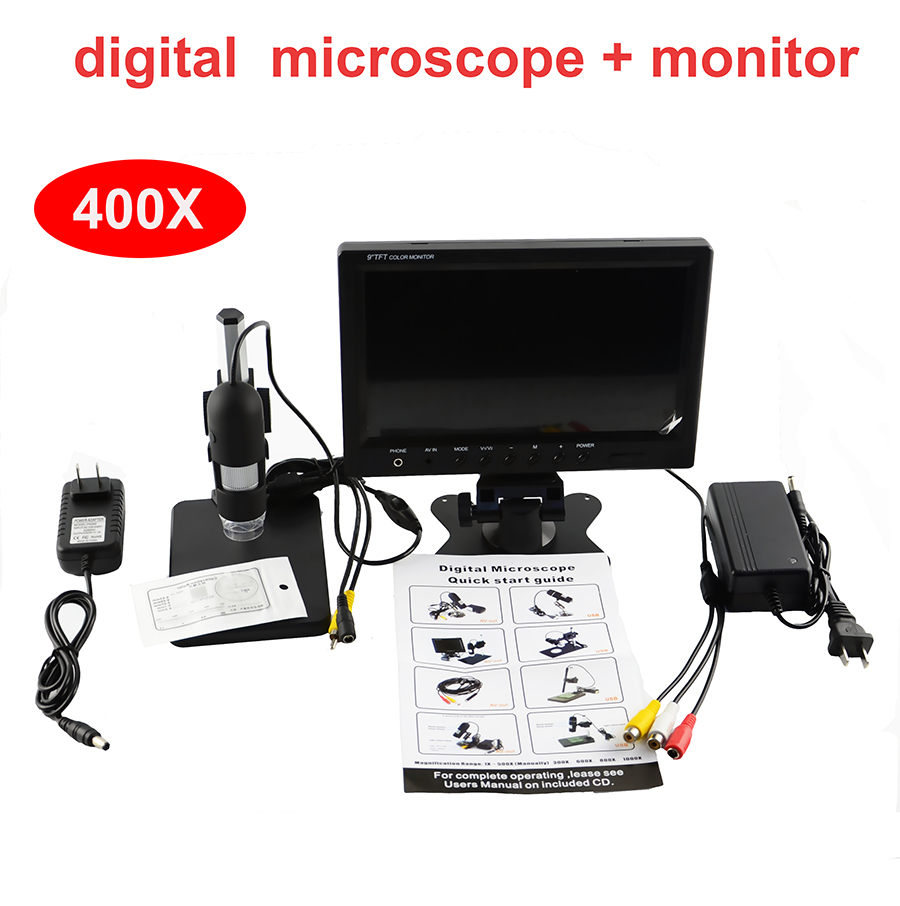 400X Digital electronic microscope with 7 inch LCD display monitor video microscope magnifier + 8 LED light  HD 3.6 MP AV output 600x digital microscope mobile phone maintenance microscope electronic microscope video microscope magnifier with al alloy stent