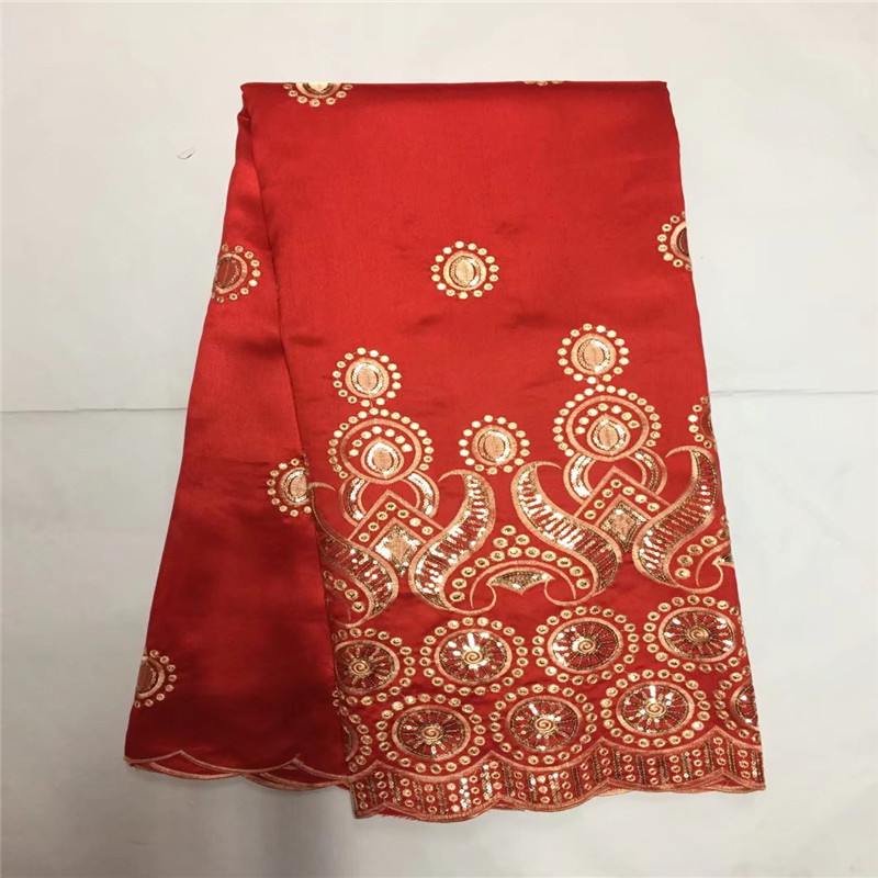African George Lace Fabric Red High Quality George Lace Raw Silk George Wrappers 2017 Nigerian Lace Fabrics For Wedding 5yardAfrican George Lace Fabric Red High Quality George Lace Raw Silk George Wrappers 2017 Nigerian Lace Fabrics For Wedding 5yard
