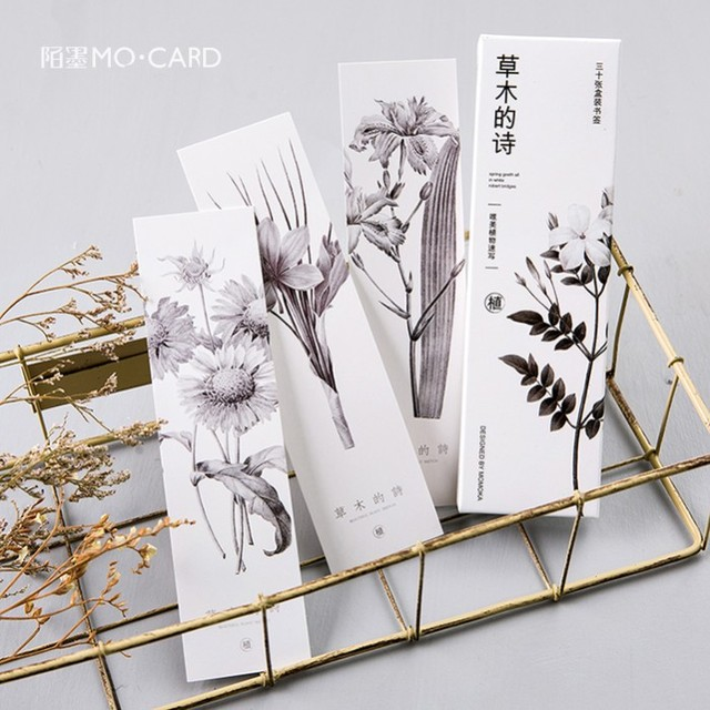 30pcslot Plant Sketch Bookmark Paper Flowers Book Mark School