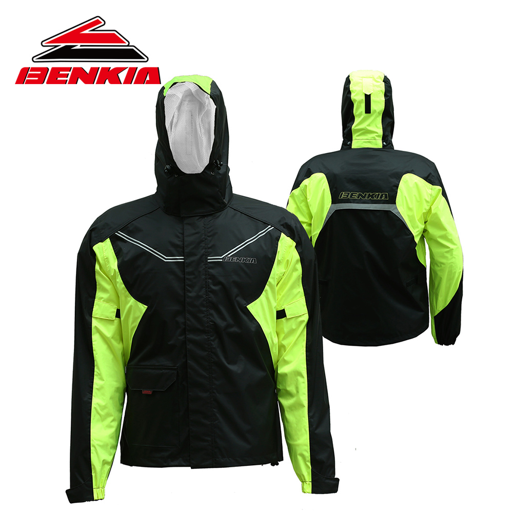 BENKIA Two-piece Raincoat Women/Men Suit Rain Coat+Pants Motorcycle Rain Gear Riding Jackets Pants Jaqueta Motoqueiro RC37  reflective raincoat rain pants waterproof single raincoat men and women for riding working free shipping